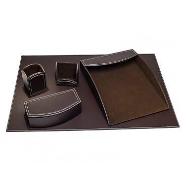 Dacasso Faux Leather Office Organizing Desk Set - Espresso Brown (DCSS492)