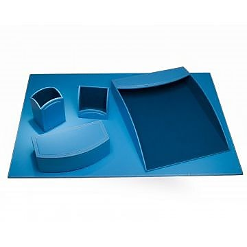 Dacasso Faux Leather Office Organizing Desk Set - Sky Blue (DCSS495)