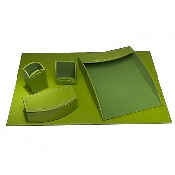 Dacasso Faux Leather Office Organizing Desk Set - Lime Green (DCSS497)