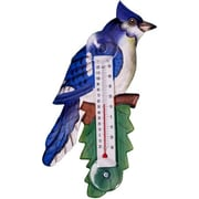 Songbird Essentials Blue Jay on Branch Small Window Thermometer (GC16947)
