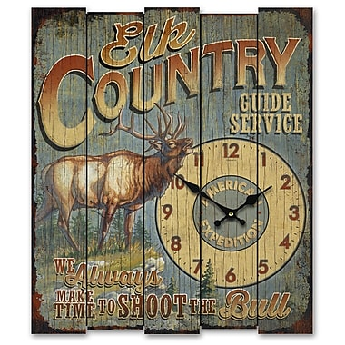 American Expedition Elk Country Guide Service Wooden Sign Clock (ID02550)