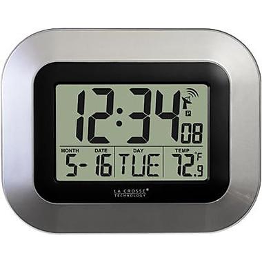 La Crosse Technology Atomic Digital Wall Clock with Temp and Date-Silver (LA725)