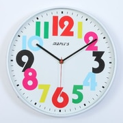 Maples Clock  12 in. Plastic Wall Clock - Colorful Hourly Numbers (MPLS184)