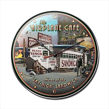 Past Time Signs Airplane Cafe Aviation Clock (PSTMS1674)
