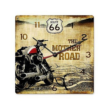 Past Time Signs Route 66 Motorcycle Clock (PSTMS3095)