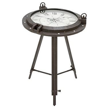 EcWorld Enterprises Urban Designs Industrial Porthole Metal Round Clock Coffee And End Table (RTL355632)