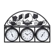 Benzara  21 in. W x 14 in. H Metal Outdor Clock with Thermometers (WLMGC2944)
