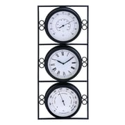 Benzara  Contemporary Metal Clock with Two Thermometer & Minimal Style (WLMGC5608)