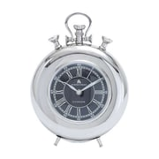 Woodland Import  Nickel Plated Table Clock with Roman Numerals (WLMGC6519)