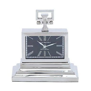 Woodland Import Nickel Plated Table Clock with Three Tiered Base (WLMGC6570)