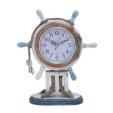 Woodland Import Wood Clock in Nautical Theme with Sailor Wheel Frame (WLMGC6699)