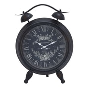 Woodland Import  Table Clock with White Intricate Design & Roman Numerals (WLMGC7153)