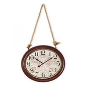 Yosemite Home Decor  Circular MDF Wall Clock With Rope - Red Oak (YSMT95268)