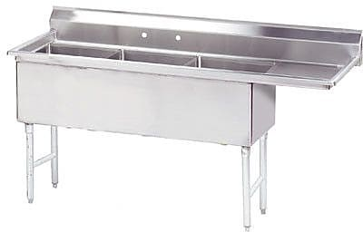 Advance Tabco 71.5'' x 29'' Triple Fabricated Bowl Scullery Sink