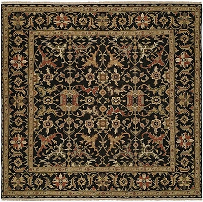 Wildon Home Napier Hand-Woven Black/Brown Area Rug; Square 6'