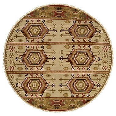 Wildon Home Qinhuangdao Hand-Woven Beige/Red Area Rug; Round 6'