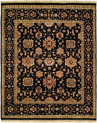 Wildon Home Doha Hand-Knotted Black/Orange Area Rug; Runner 2'6'' x 10'