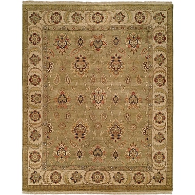 Wildon Home Jubail Hand-Knotted Green/Ivory Area Rug; 2' x 3'