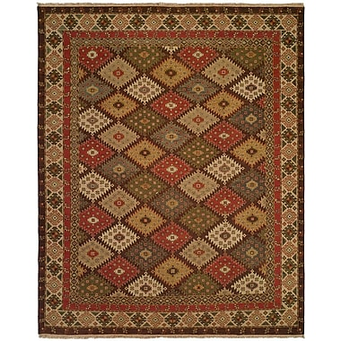 Wildon Home Qasr Hand-Woven Red/Brown Area Rug; 6' x 9'