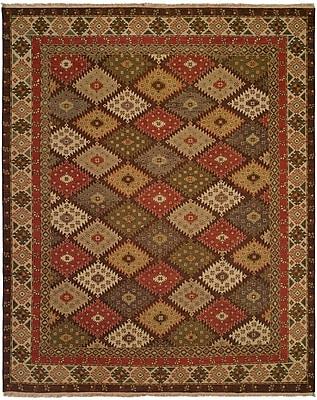 Wildon Home Qasr Hand-Woven Red/Brown Area Rug; Rectangle 10' x 14'