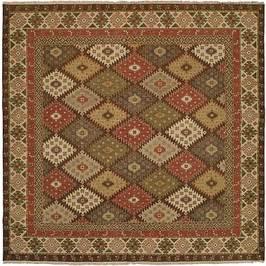 Wildon Home Qasr Hand-Woven Red/Brown Area Rug; Square 6'