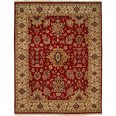 Wildon Home Cagayan Hand-Knotted Red/Beige Area Rug; 3' x 5'