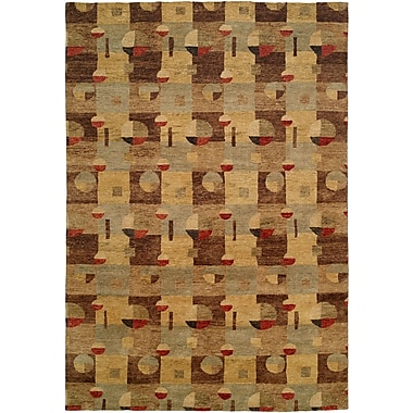 Wildon Home Lushun Hand-Knotted Brown/Beige Area Rug; 8' x 10'