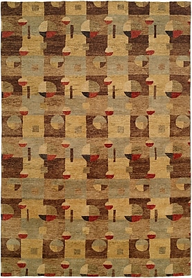Wildon Home Lushun Hand-Knotted Brown/Beige Area Rug; 6' x 9'