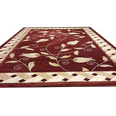 Rug Tycoon Carved Red Area Rug; Runner 2' x 7'2''