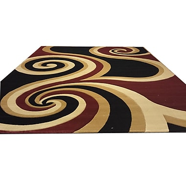 Rug Tycoon Hand-Carved Black/Brown/Red Area Rug; Round 8'