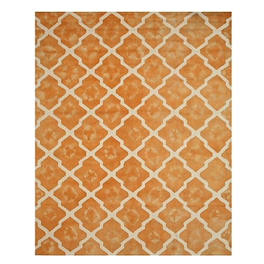 Eastern Rugs Hand Tufted Orange/ivory Area Rug; Rectangle 7'9'' x 9'9''