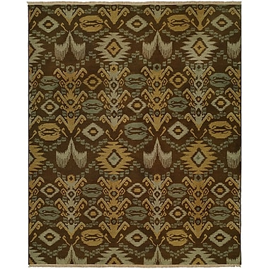 Wildon Home Gon Hand-Woven Brown/Green Area Rug; Rectangle 3' x 5'
