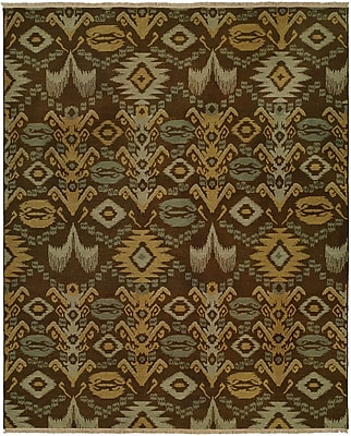 Wildon Home Gon Hand-Woven Brown/Green Area Rug; Rectangle 4' x 6'