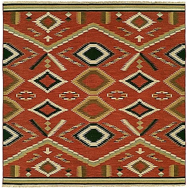 Wildon Home Coquimbo Hand-Woven Red Area Rug; Square 6'