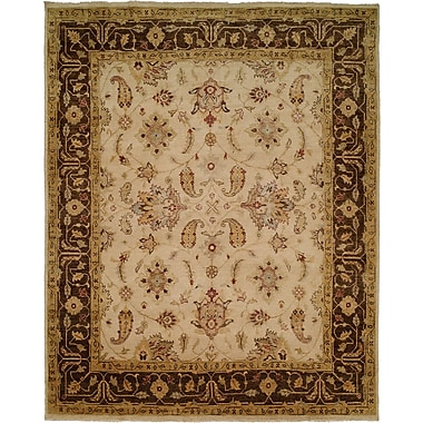 Wildon Home Ensenada Hand-Knotted Ivory/Brown Area Rug; 5' x 7'