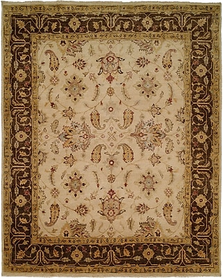Wildon Home Ensenada Hand-Knotted Ivory/Brown Area Rug; Rectangle 3' x 5'