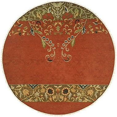 Wildon Home Iquique Hand-Woven Red/Green Area Rug; Round 6'