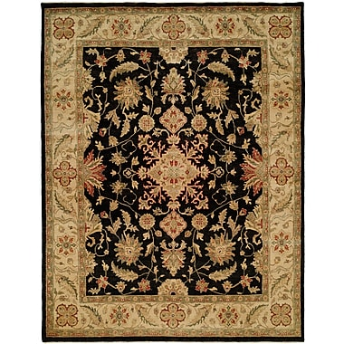 Wildon Home Wuhan Hand-Knotted Black/Ivory Area Rug; 12' x 15'