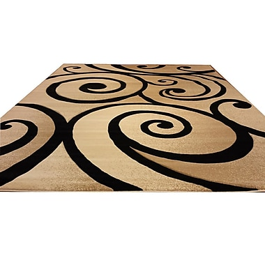 Rug Tycoon Hand-Carved Beige/Black Area Rug; Runner 2'7'' x 9'10''