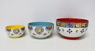 Euro Ceramica Mumbai 3 Piece Ceramic Mixing Bowl Set WYF078278869229