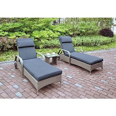 JB Patio 3 Piece Seating Group w/ Cushion; Light Brown