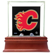 Steiner Sports Glass Single Puck Case; Calgary Flames