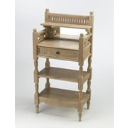 AA Importing 2 Shelf Stand w/ Drawer and Mirror; Pickled