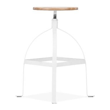 Design Lab MN Adjustable Height Swivel Bar Stool; White