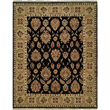 Wildon Home Legazpi Hand-Knotted Black/Gold Area Rug; Rectangle 4' x 6'
