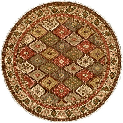 Wildon Home Qasr Hand-Woven Red/Brown Area Rug; Round 10'