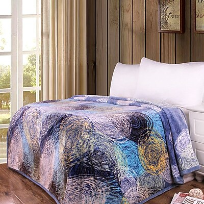 DaDa Bedding Swirly Painting Print Reversible Soft Warm Throw Blanket; 90'' L x 66'' W