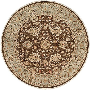 Wildon Home Shanghai Hand-Knotted Brown/Blue Area Rug; Round 6'