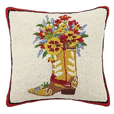 Mary Lake Thompson Boots and Flowers 100pct Cotton Throw Pillow