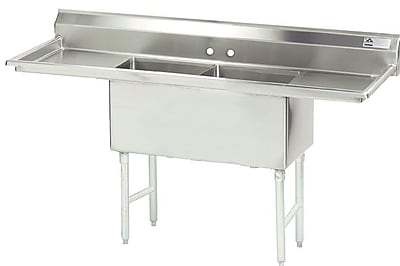 Advance Tabco 96'' x 30'' Double Fabricated Bowl Scullery Sink